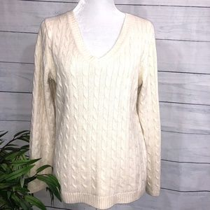 Ann Taylor Off-White Cable Knit Sweater - XL